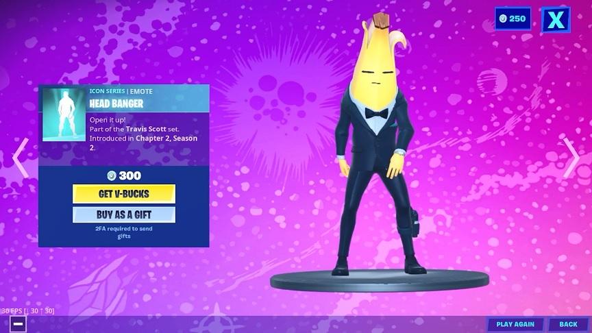 バナナスキンでヘッドバンガーエモートをすると…